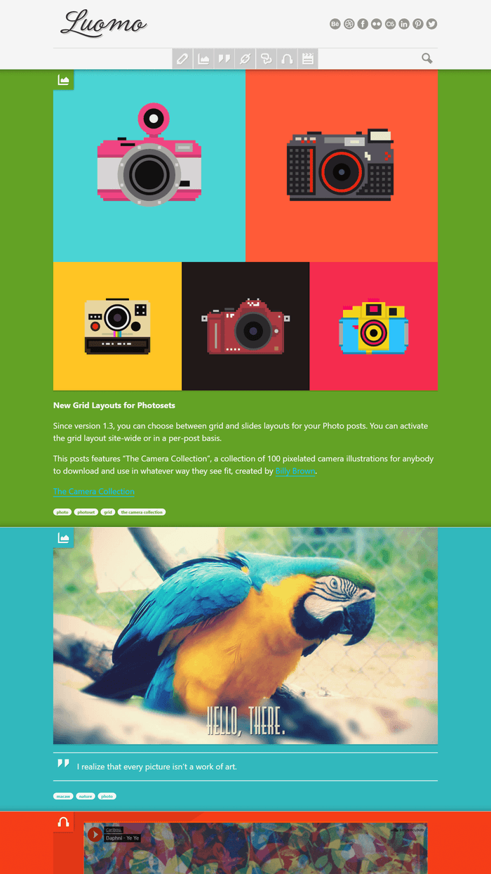 Luomo - Colorful and expressive blogging experience.